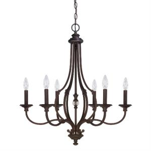 Leigh - Chandelier 6 Light Burnished Bronze - in Traditional style - 26 high by 30.38 wide