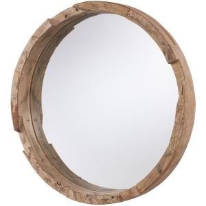 36 Inch Round Wood Mirror - in Industrial style - 36 high by 36 wide