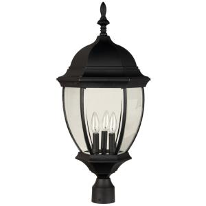 Three Light Post Lamp in Contractor Style - 12.8 inches wide by 26.4 inches high