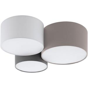 Ceiling Lights - 3-Light Ceiling Light - Taupe - White - and Grey Shades