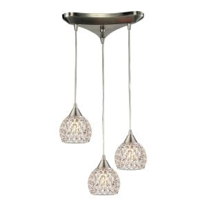 Kersey - 3 Light Triangular Pendant in Modern/Contemporary Style with Luxe/Glam and Boho inspirations