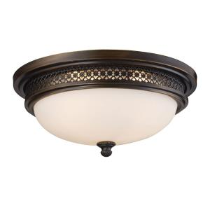 Three Light Flush Mount in Traditional Style with Vintage Charm and Country/Cottage inspirations - 5.5 Inches tall and 16 inches wide