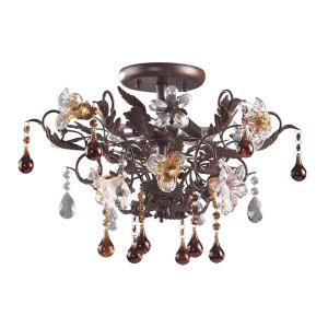 Cristallo Fiore - 3 Light Semi-Flush Mount in Traditional Style with Country/Cottage and Nature inspirations - 13 Inches tall and 19 inches wide