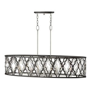 Portico - Six Light Open Frame Linear Pendant in Transitional Style - 42 Inches Wide by 23.75 Inches High