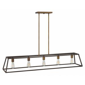 Fulton - 5 Light Open Frame Linear Chandelier in Transitional, Industrial Style - 50 Inches Wide by 9 Inches High