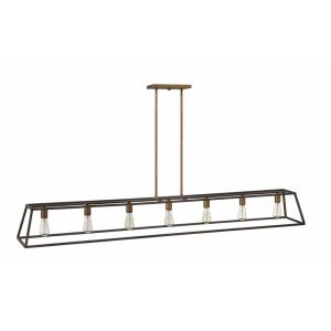 Fulton - 7 Light Open Frame Linear Chandelier in Transitional, Industrial Style - 65 Inches Wide by 9.75 Inches High