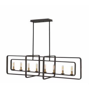 Quentin - 8 Light Linear Foyer in Mid-Century Modern, Industrial Style - 45 Inches Wide by 13 Inches High