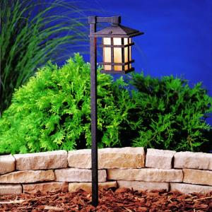 Cross Creek - Line Voltage Path and Spread Light - with Arts and Crafts/Mission inspirations - 27 inches tall by 6 inches wide
