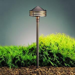 Six Groove - Low Voltage 1 light Path Lamp - 6 inches wide