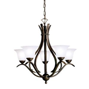 Dover - 5 light Chandelier with White Glass Shades - with Transitional inspirations - 23 inches tall by 24 inches wide