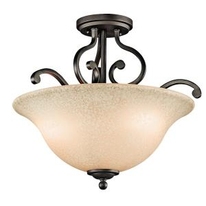 Camerena - 3 Light Semi-Flush Mount - with Traditional inspirations - 14.5 inches tall by 18 inches wide