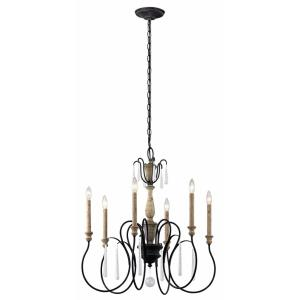 Kimberwick - 6 light Chandelier - with Lodge/Country/Rustic inspirations - 27.75 inches tall by 26 inches wide