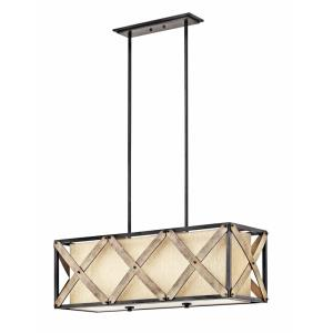 Cahoon - 3 light Linear Chandelier - with Lodge/Country/Rustic inspirations - 13 inches tall by 13.5 inches wide