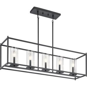Crosby - 5 Light Linear Chandelier - with Contemporary Inspirations - 25.75 Inches Tall by 41.2 Inches Long