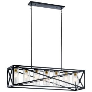 Moorgate - 7 light Linear Chandelier - with Lodge/Country/Rustic inspirations - 12.75 inches tall by 12 inches wide