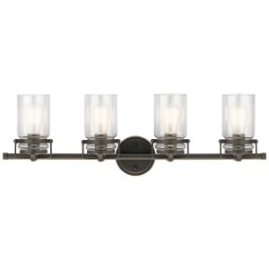 Brinley - 4 Light Bath Vanity Approved for Damp Locations - with Vintage Industrial inspirations - 10 inches tall by 32.25 inches wide