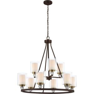 Studio 5 - 2 Tier Chandelier 9 Light Polished Nickel in Transitional Style - 30.5 inches tall by 32 inches wide