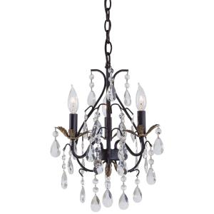 Mini Chandelier 3 Light Castlewood Walnut/Silver in Traditional Style - 18.25 inches tall by 13.25 inches wide