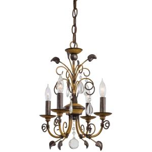 Mini Chandelier 4 Light Belcaro Walnut in Traditional Style - 16 inches tall by 12.5 inches wide