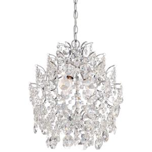 Mini Chandelier 3 Light Chrome in Traditional Style - 17 inches tall by 14 inches wide