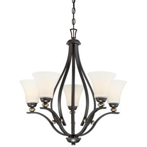 Shadowglen - Chandelier 5 Light Lathan Bronze/Gold in Transitional Style - 26.5 inches tall by 26.25 inches wide