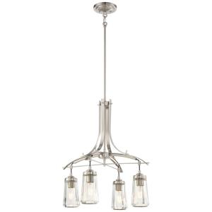 Poleis - Chandelier 4 Light Brushed Nickel in Transitional Style - 23.75 inches tall by 21 inches wide