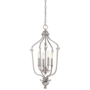 Savannah Row - Chandelier 4 Light Brushed Nickel in Traditional Style - 24.5 inches tall by 13 inches wide