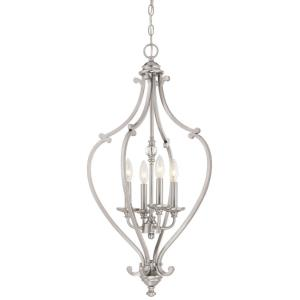 Savannah Row - Chandelier 4 Light Brushed Nickel in Traditional Style - 31.25 inches tall by 17.25 inches wide