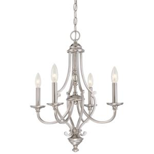 Savannah Row - Chandelier 4 Light Brushed Nickel in Traditional Style - 22.5 inches tall by 20 inches wide