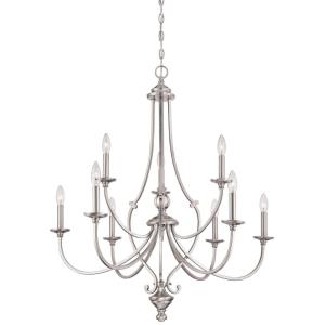 Savannah Row - Chandelier 9 Light Brushed Nickel in Traditional Style - 36 inches tall by 33.5 inches wide