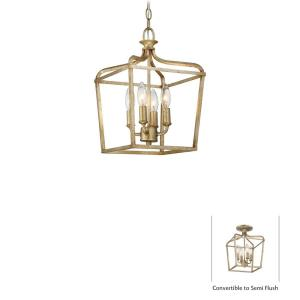 Laurel Estate - 4 Light Convertible Pendant in Traditional Style - 15 inches tall by 10 inches wide