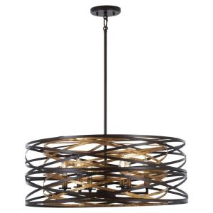 Vortic Flow - 6 Light Pendant in Contemporary Style - 10 inches tall by 26 inches wide