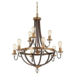 Safra - 2 Tier Chandelier 9 Light Harvard Court Bronze/Natural in Transitional Style - 35 inches tall by 31 inches wide