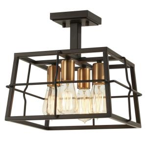 Keeley Calle - 4 Light Semi-Flush Mount in Transitional Style - 12.5 inches tall by 13 inches wide