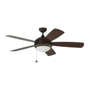Discus Ornate - 5 Blade Ceiling Fan with Pull Chain Control and Includes Light Kit in Traditional Style - 52 Inches Wide by 15.6 Inches High
