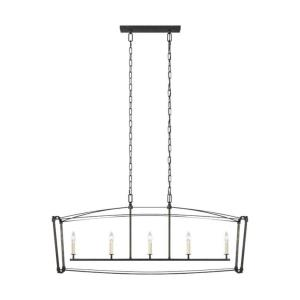Sean Lavin-Linear Chandelier 5 Light Steel in Period Inspired Style-14 Inches Wide by 20.25 Inches Tall