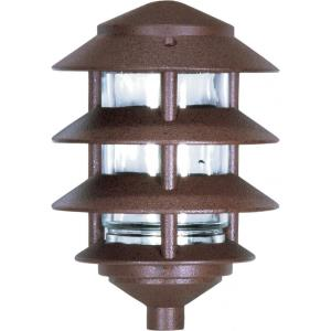 One Light Outdoor 3 Louver Pagoda Light with Small Hood-6.13 Inches Wide by 8.63 Inches High