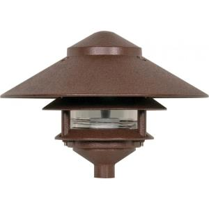 One Light Outdoor 2 Louver Pagoda Light with Large Hood-9.63 Inches Wide by 7.13 Inches High