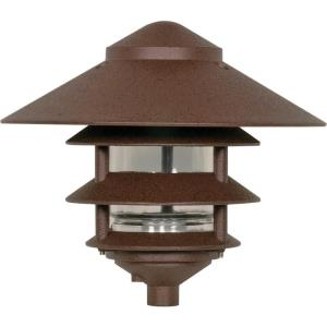 One Light Outdoor 3 Louver Pagoda Light with Large Hood-9.63 Inches Wide by 8.63 Inches High