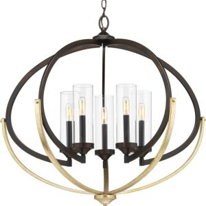 Evoke - Chandeliers Light - 5 Light - Cylinder Shade in Luxe and Transitional style - 33.75 Inches wide by 27.88 Inches high