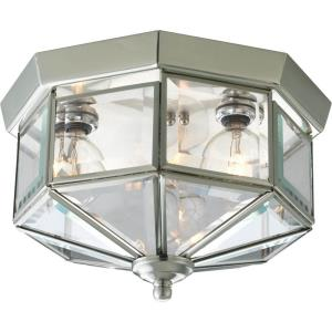 Beveled Glass - Close-to-Ceiling Light - 3 Light in Traditional style - 9.75 Inches wide by 6 Inches high