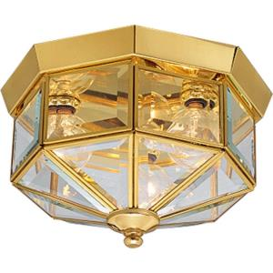 Beveled Glass - 6 Inch Height - Close-to-Ceiling Light - 3 Light - Line Voltage - Damp Rated