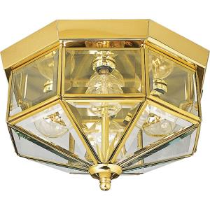 Beveled Glass - 6.25 Inch Height - Close-to-Ceiling Light - 4 Light - Line Voltage - Damp Rated