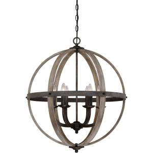 Fusion Chandelier 6 Light Steel/Wood - 28.5 Inches high