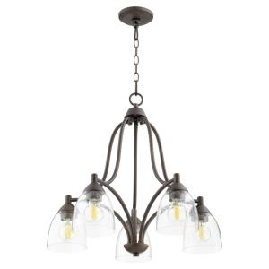 Barkley - 5 Light Nook Chandelier in Quorum Home Collection style - 24 inches wide by 22.5 inches high