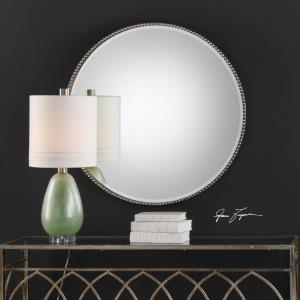 Stefania - 40 inch Beaded Round Mirror - 40 inches wide by 3.25 inches deep