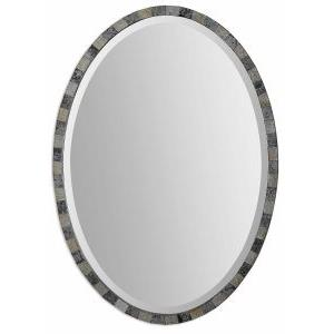 Paredes - 29.25 inch Oval Mosaic Mirror - 20.5 inches wide by 1 inches deep