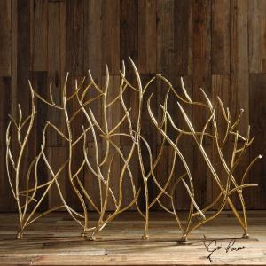 Gold Branches - 47 inch Decorative Fireplace Screen - 47 inches wide by 6.3 inches deep