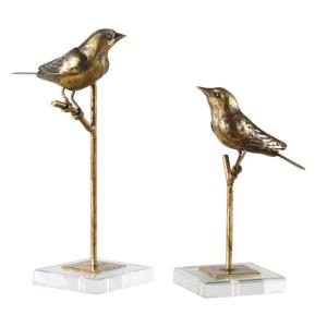 Passerines - 13.25 inch Bird Sculpture (Set of 2) - 6.5 inches wide by 5.5 inches deep