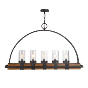 Atwood, Linear Chandelier 5 Light Rubber Wood/Glass/Steel - 51 inches wide by 7.75 inches deep